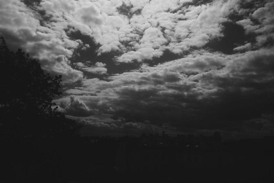 Sharp Clouds above My City. Sharp City Cloud Porn Blackandwhite Clouds Suwałki