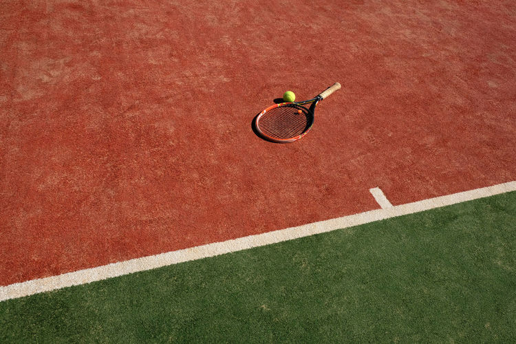 Abandoned Competition Competitive Sport Court Directly Above Full Length Heat Outdoors Red Serving - Sport Sport Sports Training Sunlight Sunshine Taking A Shot - Sport Tennis Tennis Ball Tennis Court Tennis Racket Yard Line - Sport TCPM Paint The Town Yellow