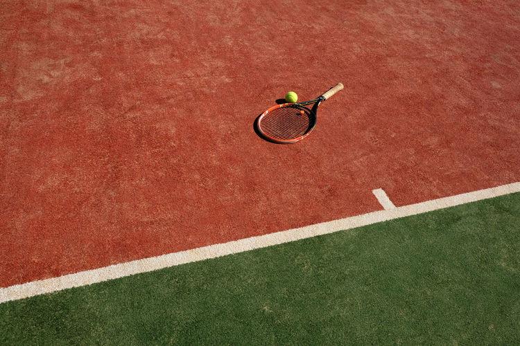 High Angle View Of Tennis Rack
