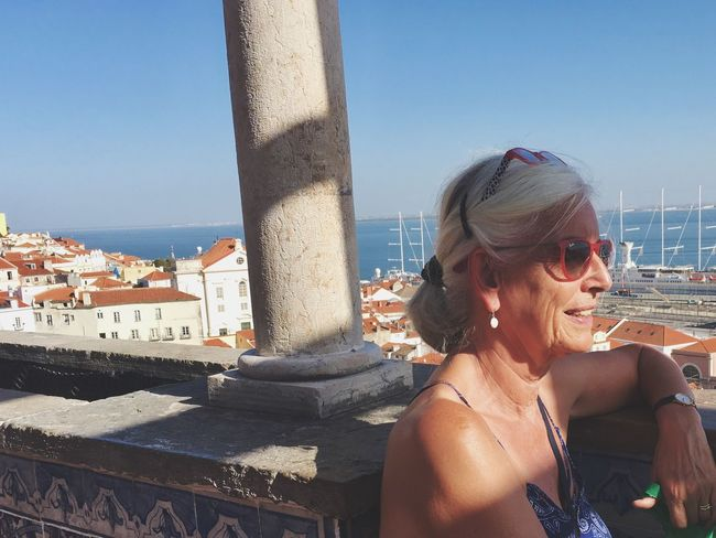 Sunlight Architecture Real People Outdoors Clear Sky Built Structure Building Exterior Day Lifestyles One Person Smiling Sky Retaining Wall Lisbon Lisboa Portugal Weekend Getaway Easygoing Mature Adult Aging Aging In Style Aging Gracefully Woman Portrait Woman Power Nature People This Is Aging