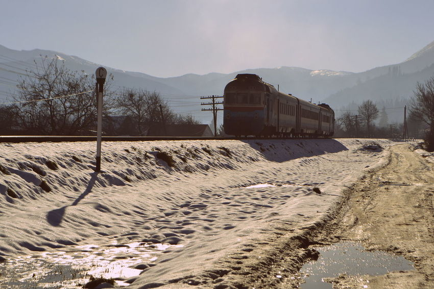 Cold Temperature Mode Of Transport Mountain Nature Outdoors Snow Train Transportation Winter