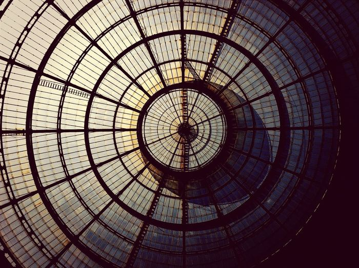 Directly Below Shot Of Glass Dome At Galleria Vittorio Emanuele Ii
