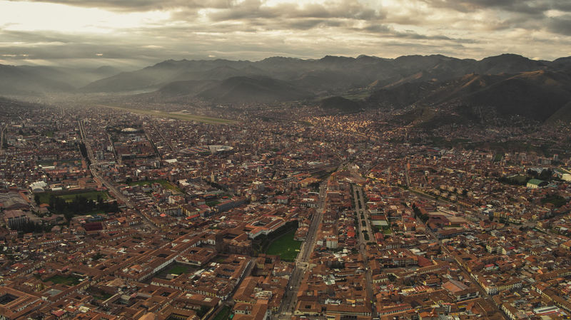 Cusco City Aerial Sprawling Downtown Metropolis Population Ancient Cloud - Sky South America Latin America Architecture City Mountain Agriculture Aerial View Sky Landscape This Is Latin America