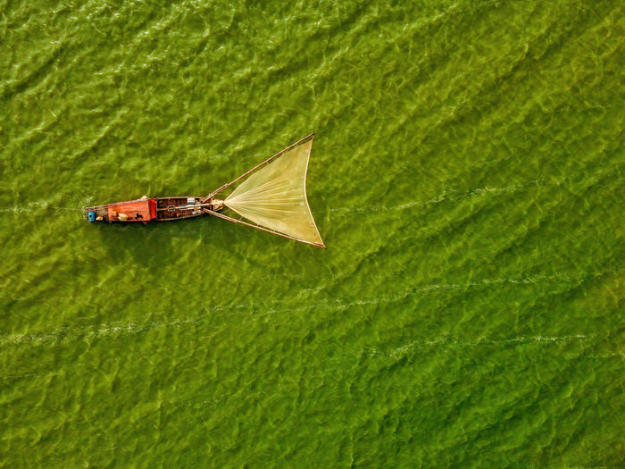 Aerial view of fishing boat moored at harbor