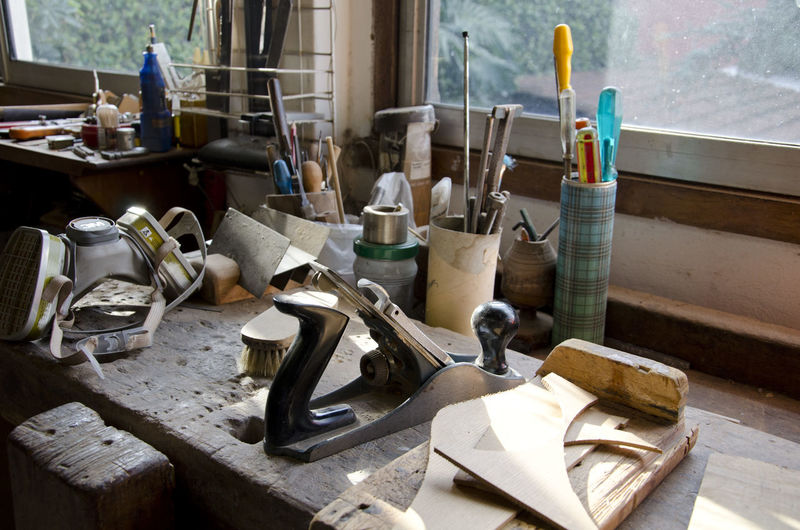 Work tools on table at workshop