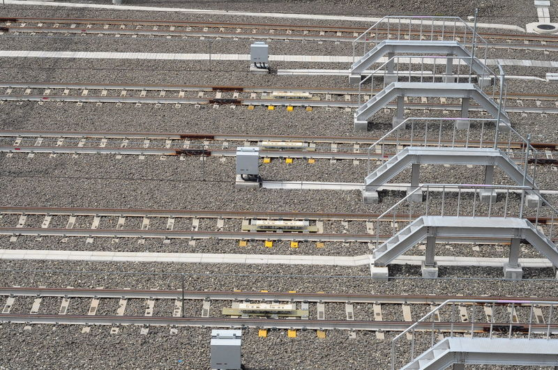 Rail Transportation Railway Backgrounds Full Frame Pattern Close-up Railroad Track Railway Track Shunting Yard Train Track Railway Station Railway Station Platform Steps And Staircases Train Track Railroad Tie Crisscross Railroad Station Railroad Station Platform