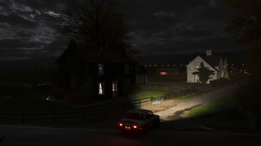 FH4 Forza Horizon 4 Forza Horizon Architecture Night Car Motor Vehicle Built Structure Transportation Mode Of Transportation Building Tree Building Exterior Spooky Dark No People Illuminated Residential District House City Nature Road Land Vehicle