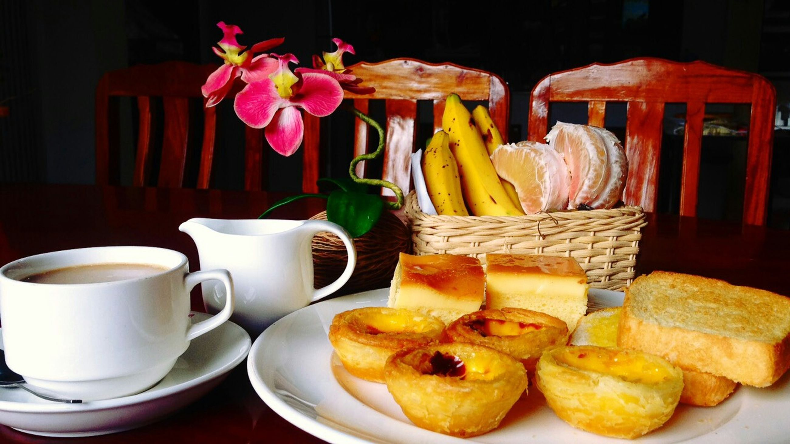 food and drink, freshness, indoors, food, table, still life, plate, ready-to-eat, drink, healthy eating, coffee cup, sweet food, refreshment, breakfast, indulgence, close-up, bread, serving size, coffee - drink, bowl