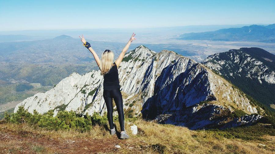 I did it! Blonde Romania Brasov Woman Success EyeEm Selects Mountain Full Length Arms Raised Sky Landscape Hiker Rocky Mountains Mountain Range Mountain Peak International Women's Day 2019
