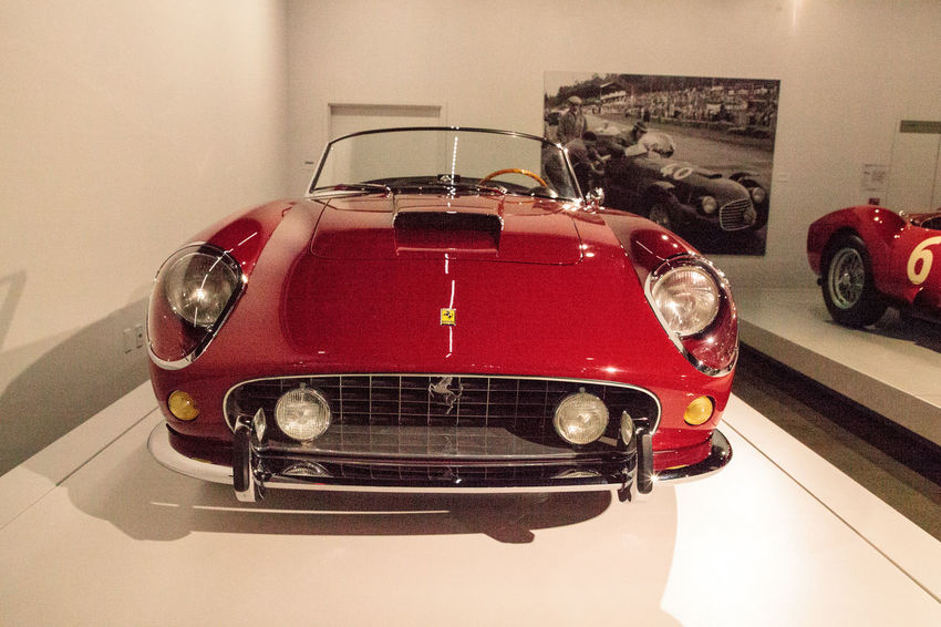 Los Angeles, CA, USA - July 23, 2017: Red 1961 Ferrari 250 GT California Spyder SWB displayed at the Petersen Automotive Museum. Editorial use. 1961 Antique California Spyder Classic Car Fast Car Ferrari Ferrari 250 GT/E Petersen Automotive Museum Red Spyder Spyder SWB Car Convertible Indoors  Land Vehicle No People Red Transportation