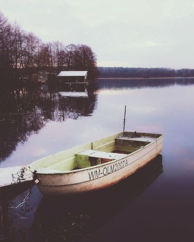 Morning lake Warmia Morning Igersolsztyn Winter Poland Boat Mazury Beautifulview Landscapephotographer Wintertime Polska XperiaXZ1 Text Water Nautical Vessel No People Communication Transportation Sky Day Nature Outdoors