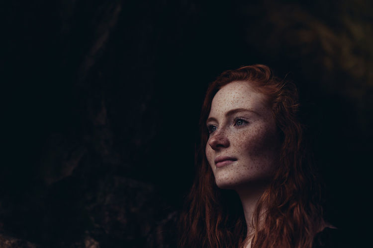 Adult Adults Only Beautiful Woman Beauty Black Background Close-up Contemplation Day Headshot Long Hair Nature One Person One Woman Only One Young Woman Only Only Women Outdoors People Redhead Young Adult Young Women The Portraitist - 2017 EyeEm Awards