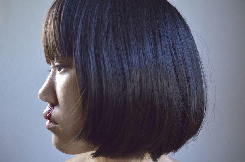 Self Portrait Selfie✌ Me Japanese  Girl Nosebleed Lips Shorthair Blackhair Bedhair Chin Jaw Pimples Acne