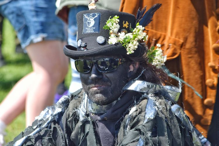 Jack In The Green Festival Jack In The Green May Day 2017 East Sussex Black Bird Rook Looking At Camera Portrait Headshot Fashion Outdoors Close-up Men Adults Only Traditional Clothing Celebration Traditional Festival Headdress Feather  Disguise Cultures Pagan Festival Hastings Community Focus On Foreground