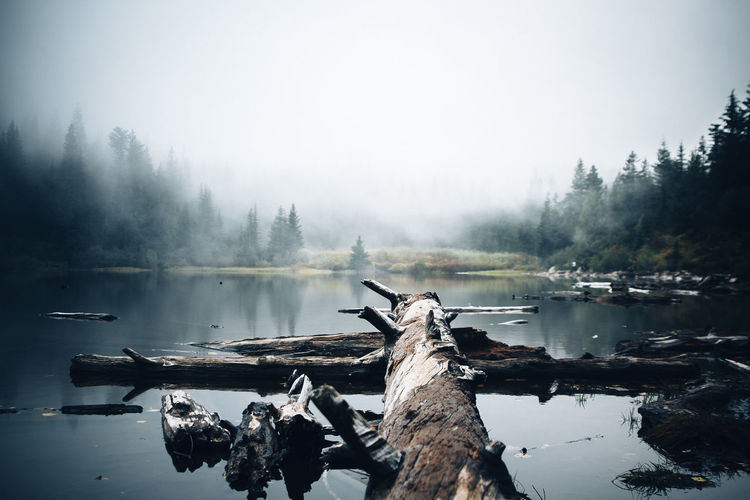 Scenic view of lake against foggy sky