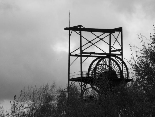 Close-up Close Up Blackandwhite Black And White Black & White Black And White Photography Colliery AstleyGreen Astley Green Coalmine Headgear Steel Structure  Cloud - Sky Industrial Heritage Industry Meets Nature Industry V Nature Industry Vs Nature Trees Minimalist Architecture