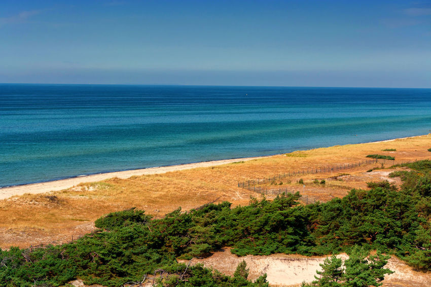 Prerow on the Darss, Vorpommersche Boddenlandschaft National Park, Germany Sea Water Horizon Land Scenics - Nature Beach Sky Horizon Over Water Beauty In Nature Plant Tranquility Nature Tranquil Scene No People Blue Tree Day Environment Travel Destinations Outdoors Turquoise Colored