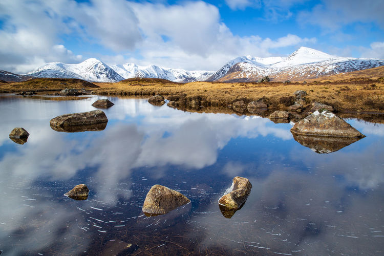 Water Beauty In Nature Mountain Scenics - Nature Tranquil Scene Tranquility Cold Temperature Sky Reflection Lake Winter Cloud - Sky Waterfront Non-urban Scene Nature Day Snow No People Mountain Range Snowcapped Mountain Outdoors