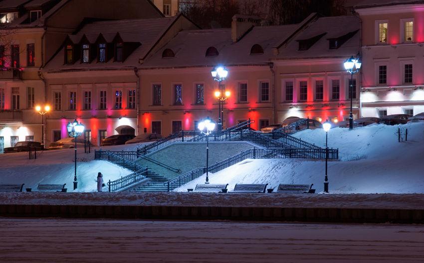 City Lights At Night Minsk,Belarus Nikon Architecture Cold Temperature Illuminated Night Snow Winter