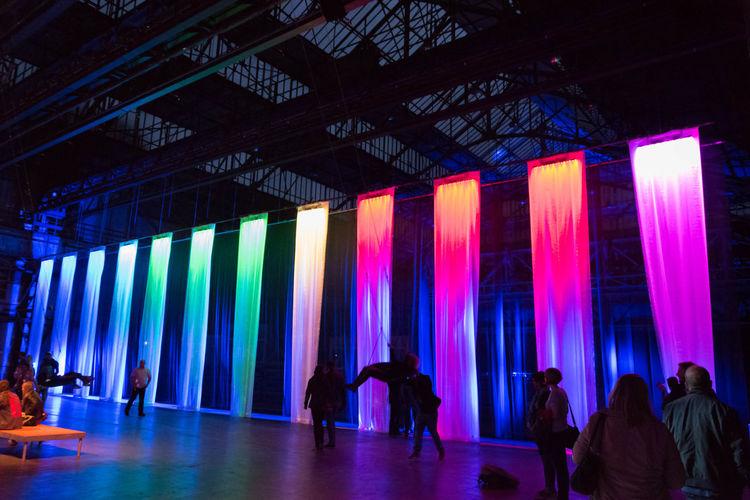 Bochum Extraschicht 2017 Germany Illuminated Indoors  Jahrhunderthalle Leisure Activity Lifestyles Multi Colored People Diversity Rainbow Colors