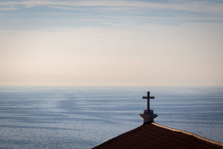 Adriatic Architecture Beauty In Nature Cloud - Sky Cross Horizon Horizon Over Water Idyllic Nature No People Outdoors Piran Religious  Remote Rippled Roof Scenics Sea Sky Slovenia Spirituality Tranquil Scene Tranquility Water Minimalism