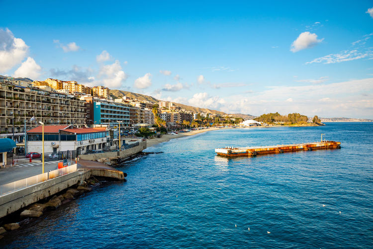 Messina Italy Sicily Ferry Sea Water Sky Architecture Built Structure Building Exterior Nautical Vessel Cloud - Sky Transportation Waterfront Nature City Mode Of Transportation Day Blue Building Outdoors Travel No People Passenger Craft Luxury