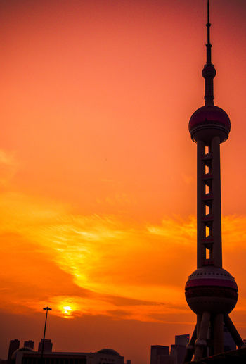 Shanghai Sunset_collection Architecture Building Building Exterior Built Structure City Communication Global Communications Nature No People Orange Color Oriental Pearl Tower Outdoors Romantic Sky Silhouette Sky Spire  Sunset Sunset #sun #clouds #skylovers #sky #nature #beautifulinnature #naturalbeauty #photography #landscape Tall - High Tourism Tower Travel Destinations