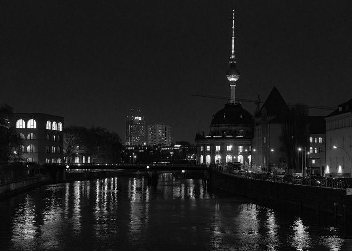 Architecture Built Structure Building Exterior Illuminated Water Night City Sky Waterfront Building Reflection No People Nature River Travel Destinations Tower Religion Tall - High Travel Cityscape Outdoors Spire  Office Building Exterior Skyscraper Fernsehturm Fernsehturm Berlin  Blackandwhite Nightphotography Night Lights Light And Shadow Light Lights Lighthouse EyeEm Best Shots EyeEmNewHere EyeEm Selects EyeEm