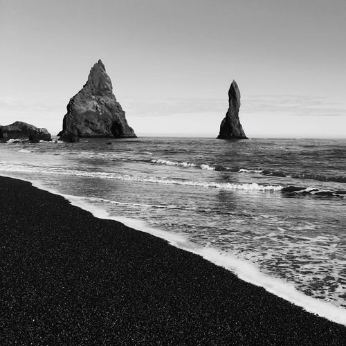 Black beach Serenity Travel Photography EyEm Selects Movement Black Beach Reynisfjara Beach Reynisfjara Icelandic Nature Elements Of Nature Blackandwhite Water Sea Sky Land Beach Beauty In Nature Scenics - Nature Nature Tranquil Scene Tranquility Clear Sky Horizon Over Water Horizon Non-urban Scene Idyllic Sand Outdoors Rock Day