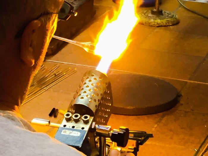 Glasmaker working with bunsen burner Bunsen Burner Crafting Craftsman Fire Flames Glasmaker Glass Art Handcraft Handmade