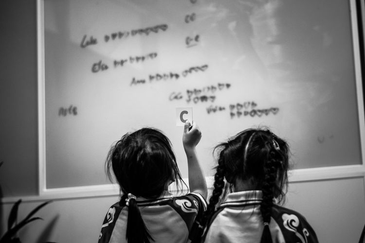 Rear View Of Girls Standing In Front Of Glass Blackboard