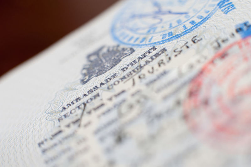 Close-up of stamped passport