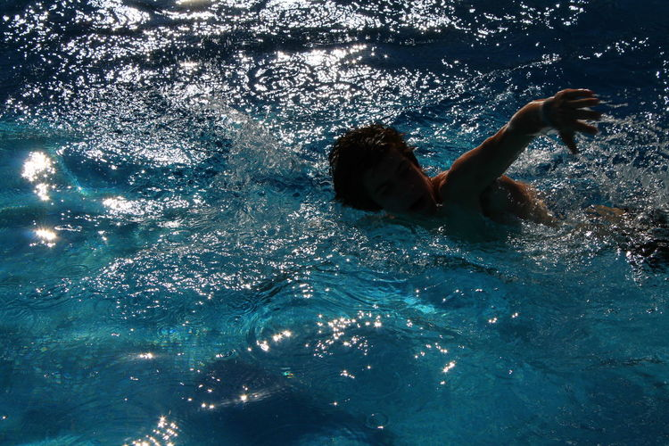 Can't stop moving Leisure Activity One Person Outdoors Swimming Swimming Pool UnderSea Underwater Water