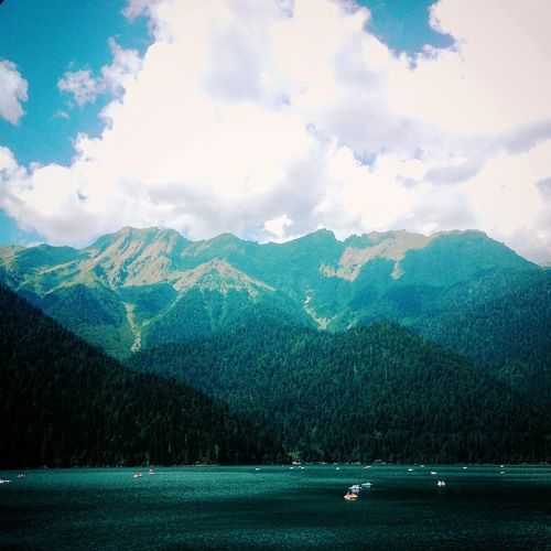 Abhazia Mountain Ritsa Lake Water Forest Nature Sky Majestic Cloud - Sky Tourism Beauty In Nature First Eyeem Photo