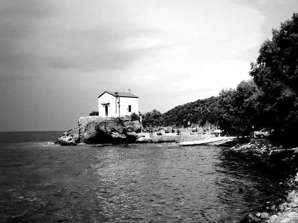 small chapel Blackandwhite Atmospheric Mood Mediteranean Still Life Structures Shadows & Lights EyeEm Best Shots EyeEm Best Shots - Black + White EyeEm Selects Water Beach Tree Sea Sky Architecture Building Exterior Horizon Over Water Built Structure Tranquility Tranquil Scene Calm Ocean Countryside Idyllic