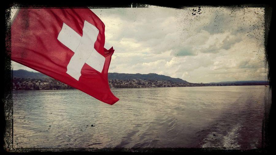 Swiss Flag Boat Trip Zürichsee Zürich Lake