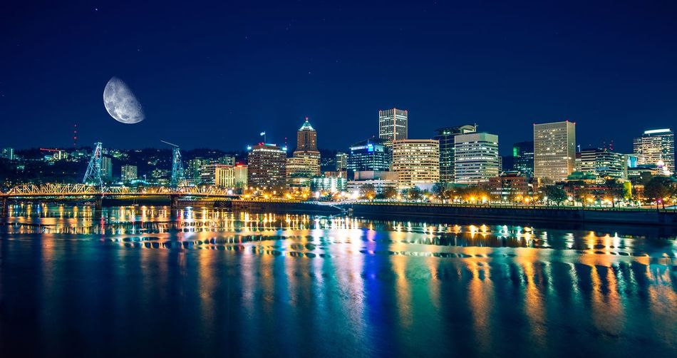 Architecture Building Exterior Built Structure City City Cityscape Cityscape Clear Sky Illuminated Modern Moon Nature Night No People Oregon Outdoors Portland Reflection Sky Skyscraper Travel Destinations Urban Skyline Water Waterfront