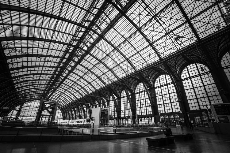 March 2019 Antwerp Train Station EyeEm Best Shots - Black + White March 2019 Touristic Attraction Metal Construction Monochrome Blackandwhite Famous Building Indoors  Historical Building Indoors  Built Structure Architecture Ceiling Day Low Angle View Glass - Material Transportation Travel Arch Railroad Station Pattern Mode Of Transportation Glass Transparent Window Skylight Sunlight