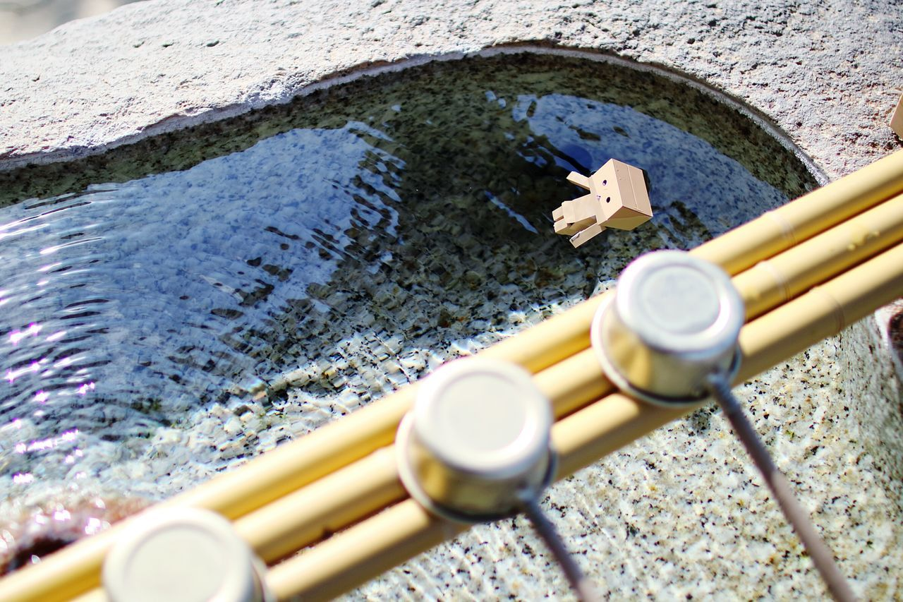 High Angle View Of Danbo In Fountain At Japanese Garden