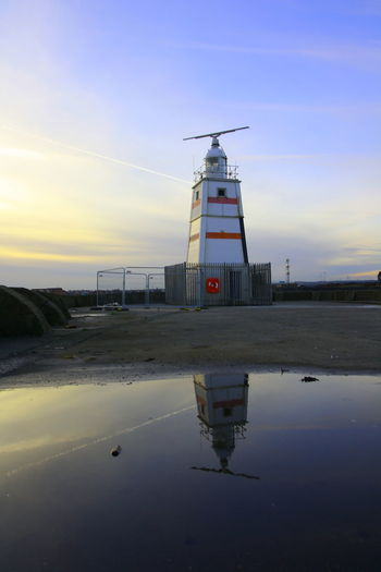 OUT AND ABOUT IN HARTLEPOOL Sky Water Sunset Built Structure Architecture Building Exterior Reflection Nature Tower No People Beauty In Nature Beach Building Scenics - Nature Lighthouse Waterfront Land Tranquility Sea