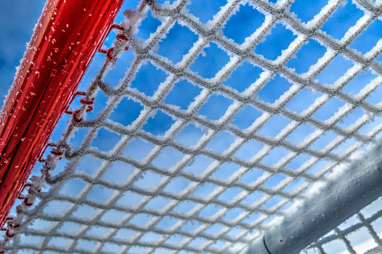 Frosting On The Top Shelf Blue Cold Cold Temperature Frost Frosty Frosty Mornings Hockey Hockey Net Low Angle View Net Outdoors Pattern Road Hockey Sky Sports
