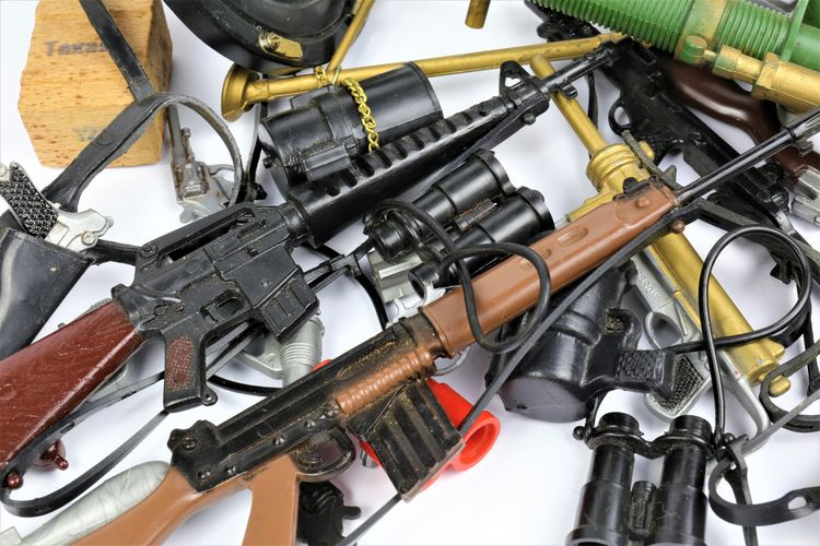 Close-up of weapons on table