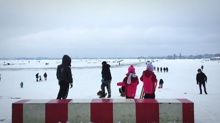 Tempelhofer Feld Snowing Its Cold Outside Kids Being Kids Perfect Sunday Berlin