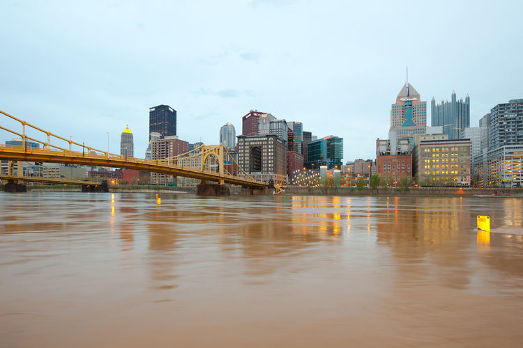 Pittsburgh, pennsylvania, united states - skyline and roberto clemente bridge over allegheny river.