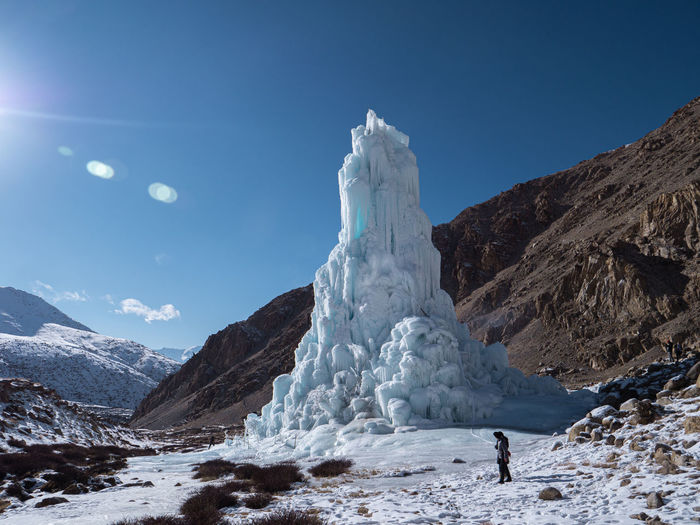 Scenic view of ice formation against sky