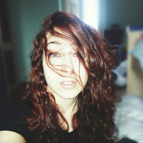 Cute Girl Redhead Green Eyes Listening To Music Crazy Face Crazy Hair