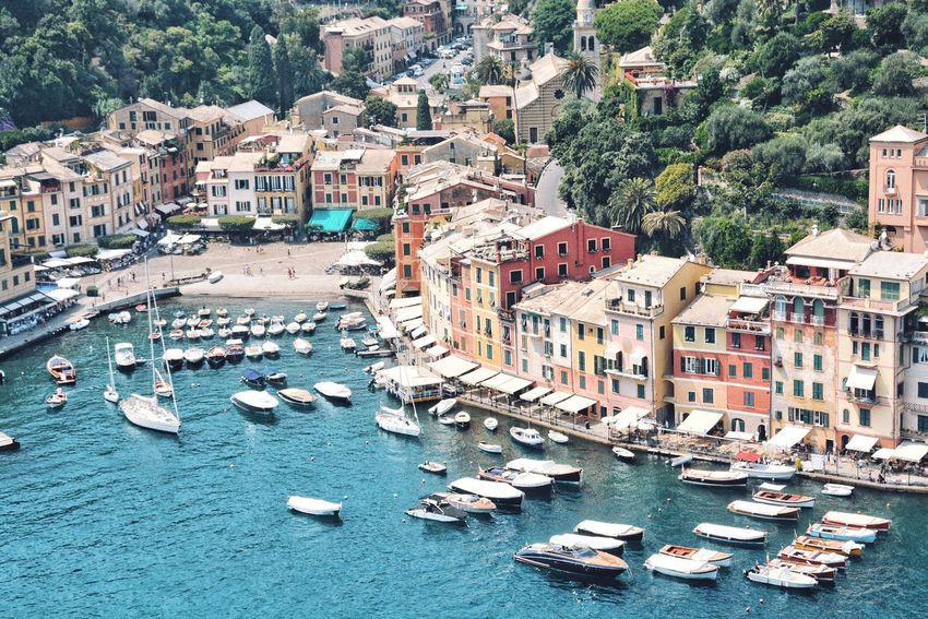 Feeling rich at Portofino. Wealth Vacations Luxury Getaway  Pleasure Travel Destinations Travel JetSet Port Building Exterior Built Structure Architecture City Building Residential District Mode Of Transportation Transportation High Angle View Nautical Vessel Water Town Sailboat
