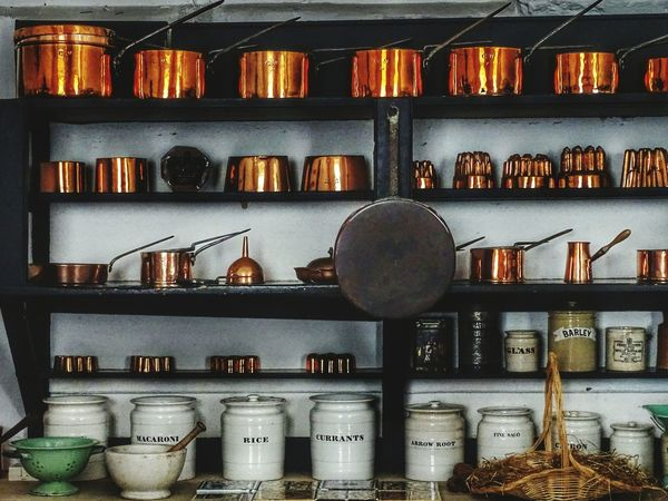 Household Equipment Kitchen Kitchen Utensil EyeEm Gallery Eye4photography  EyeEm Best Shots Copper  EyeEm Selects Castle Old House Cooking Shelf Store Variation Choice Arrangement Collection Various Variety Order Repetition The Creative - 2018 EyeEm Awards
