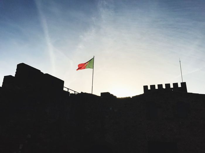 Castle Silves Silves Castle Castelo Silves Silves Portugal Low Angle View Flag Patriotism No People Sky Architecture Built Structure Outdoors Day
