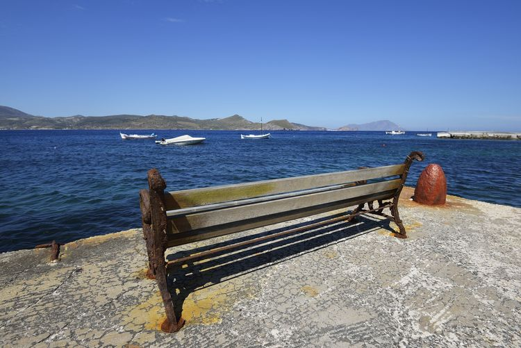 Empty bench at